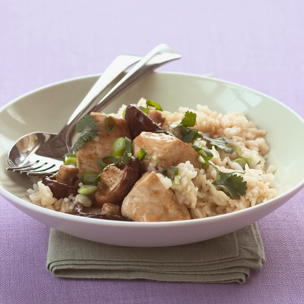 Rice and Lemon Chicken with Mushrooms